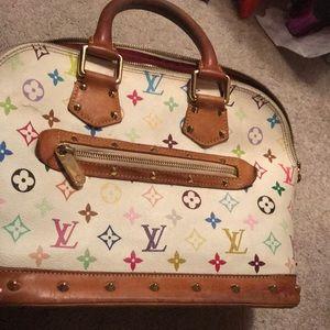 White alma Multicolor tote handbag purse